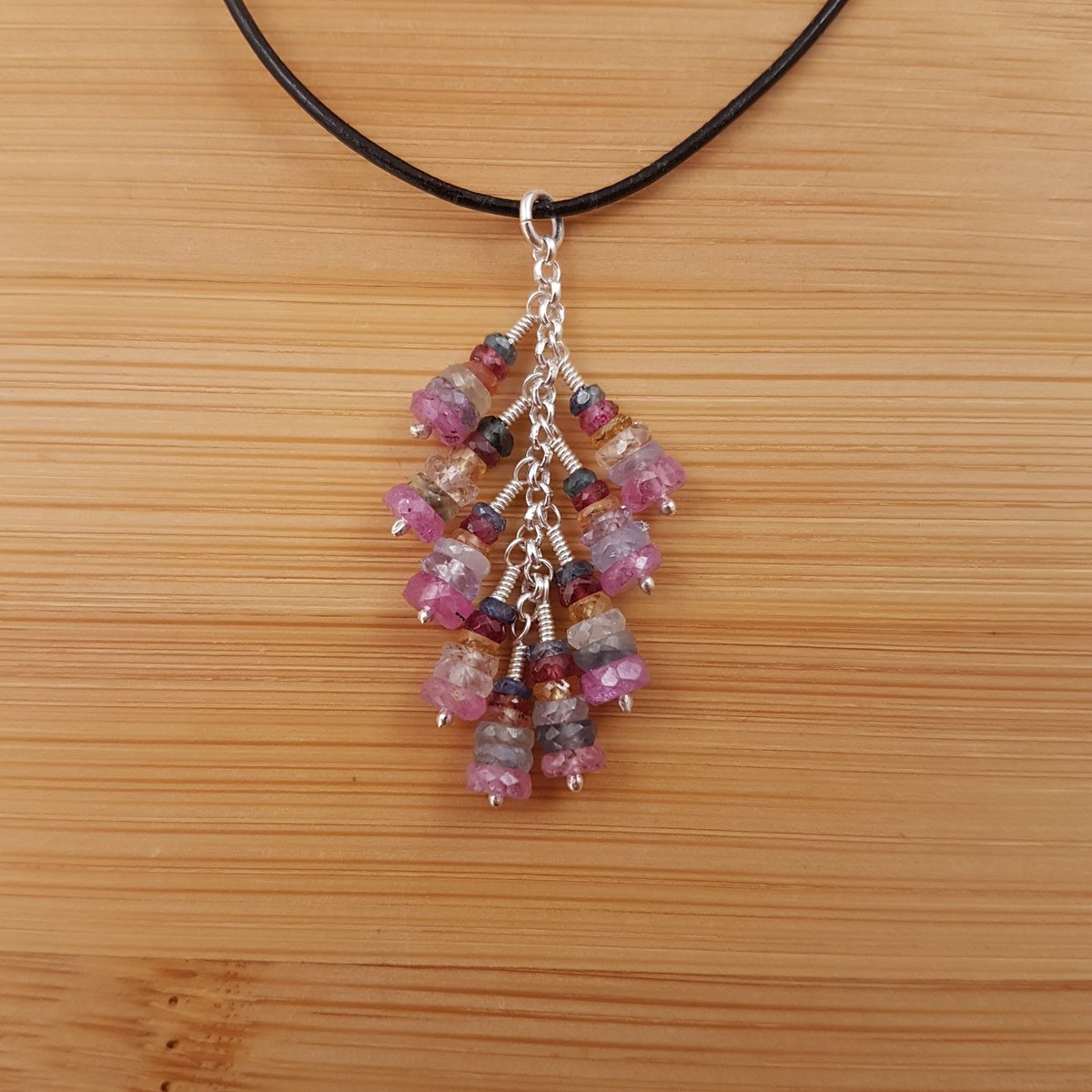 Multicoloured sapphire cascade pendant