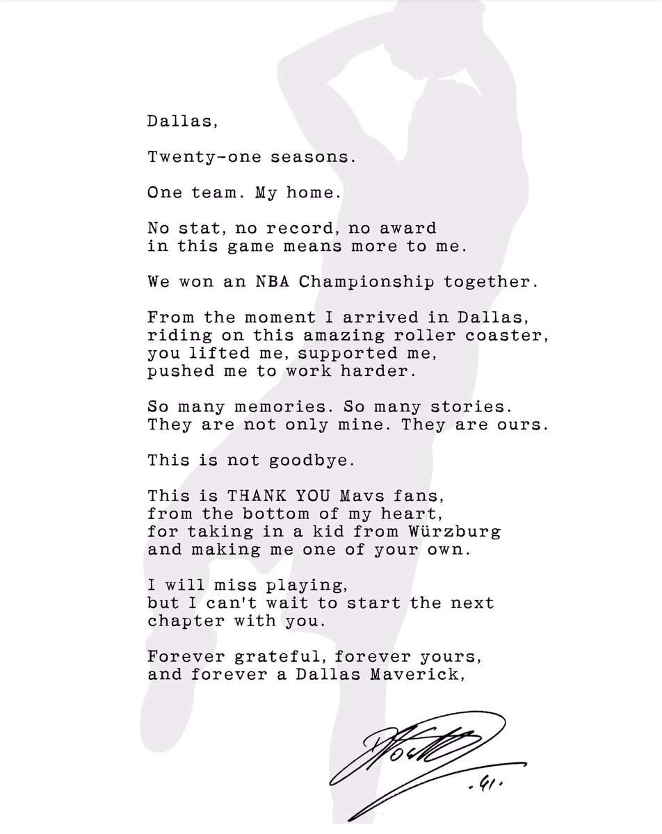A thank you, but not a goodbye, from Dirk Nowitzki @swish41 to Dallas.  #DallasMavericks #Dirk #DirkNowitzki #MFFL @dallasnews