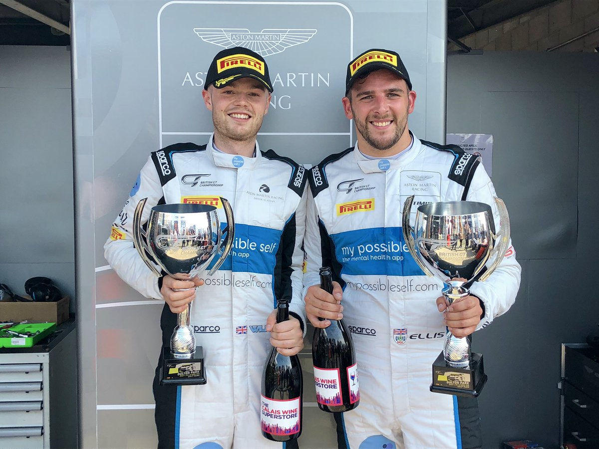 What a way to start our debut British GT season - an outright podium and Silver Cup victory in race one @Oulton_Park on the Aston Martin V8 Vantage GT3's maiden uk race weekend #BritishGT #NewVantage<br>http://pic.twitter.com/IcIIe84jVD