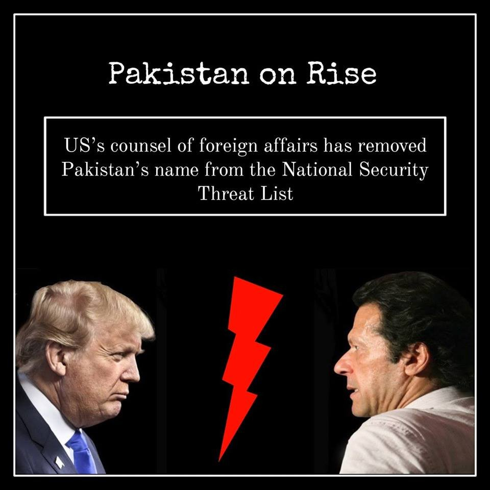 Courageous leadership of @ImranKhanPTI has compelled USA  to remove #Pakistan  from the National Security Threat List....  #PakistanOnRise<br>http://pic.twitter.com/eaOcyi2gjQ
