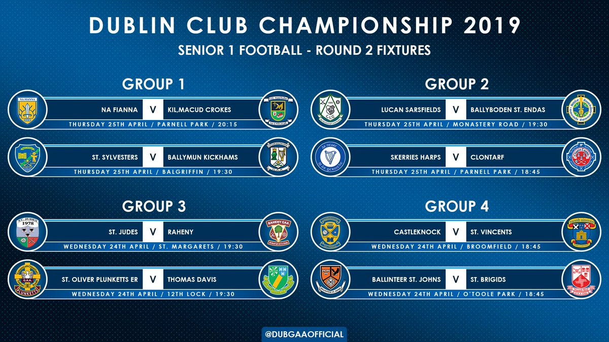 test Twitter Media - Round 2 of the Dublin Senior 1 Football Championship begins this Wednesday, everything still to play for! 💥 #DSFC1 https://t.co/fT170xJZtq