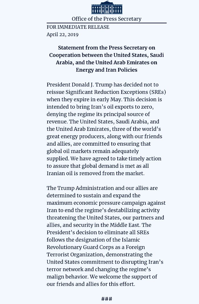 BREAKING: Trump Ends Oil Waivers to 8 Countries on #Iran . Move coordinated with Saudi and UAE. Effective May 2: <br>http://pic.twitter.com/a4b5vfEKVl