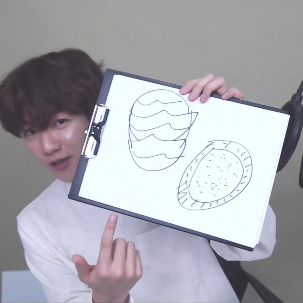 Baekhyun : left is the outside, right is the inside. Yea there's a correct answer. Dragon fruit. That's not a watermelon guys..  #EXO #엑소 @weareoneEXO<br>http://pic.twitter.com/lEcAw0WrDT