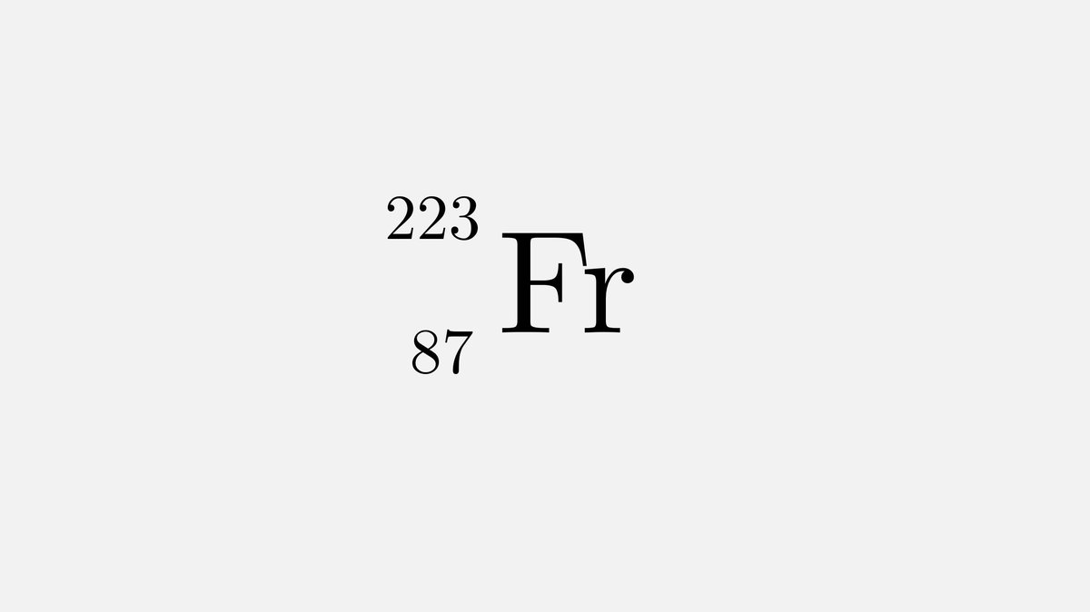 Francium-223 has the shortest half-life of any naturally-occurring element: 22 min. It decays either into radium by β decay or astine by α emission and it was the last radioactive element to be found in nature rather than by synthesis in 1939. <br>http://pic.twitter.com/EyfYNTIXDn