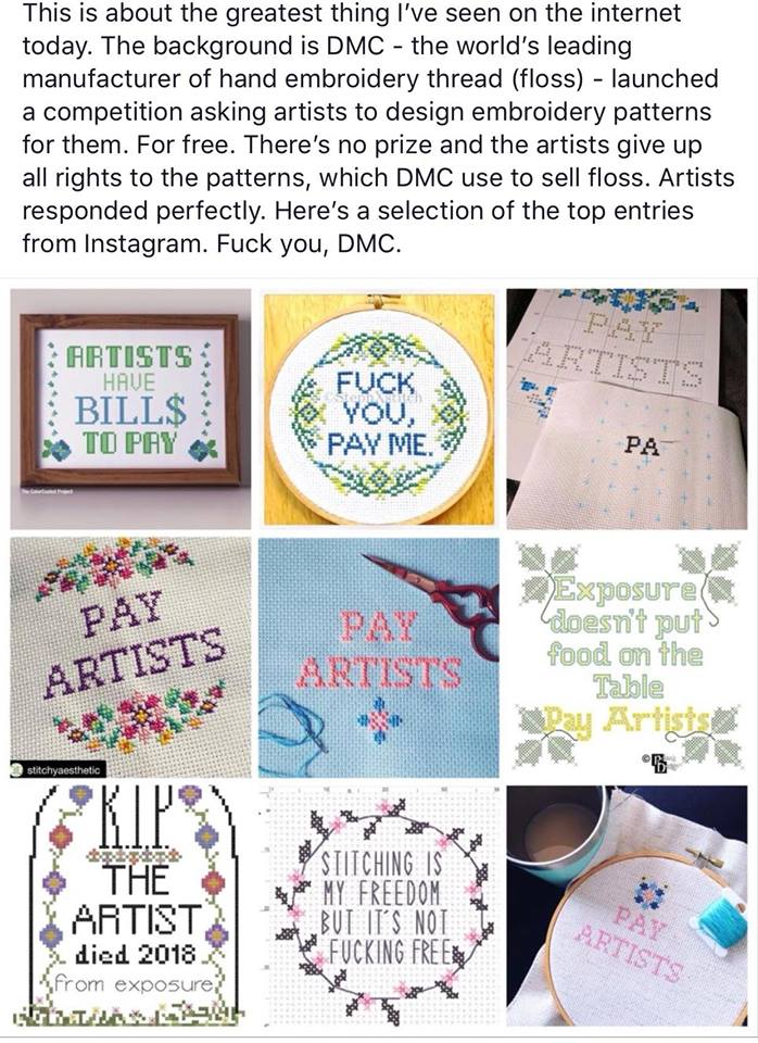 Have you seen this yet?   The world's leading manufacturer of hand-embroidery thread asked artists to enter a competition to get work for free. Artists did enter, but responded like this.   #DontWorkForFree #NotaHobby  Spotted today here: https://www.facebook.com/photo.php?fbid=10161561110205012&set=a.10150554859320012&type=3&theater…