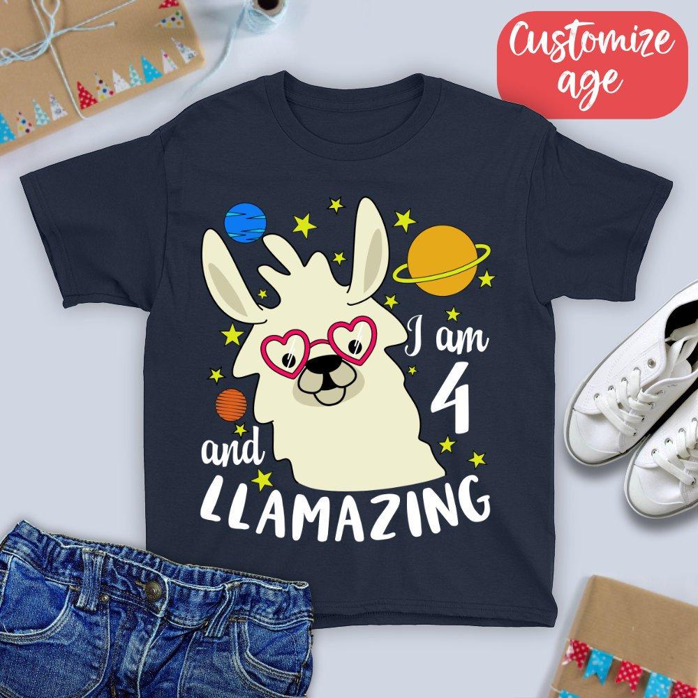 e2118779 4th Birthday Shirt/ I Am 4 And Llamazing T-shirt/ four Year Old ...