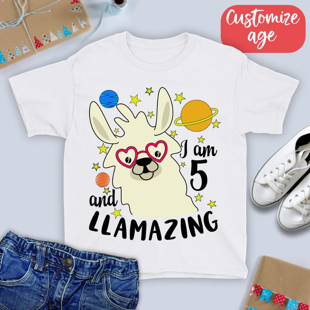 5th Birthday Shirt I Am 5 And Llamazing T Five Year Old