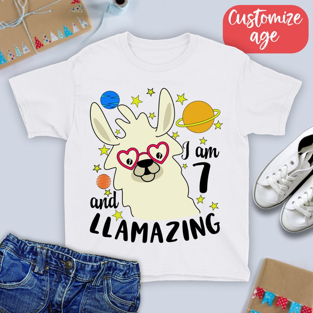 7th Birthday Shirt I Am 7 And Llamazing T Seven Year Old