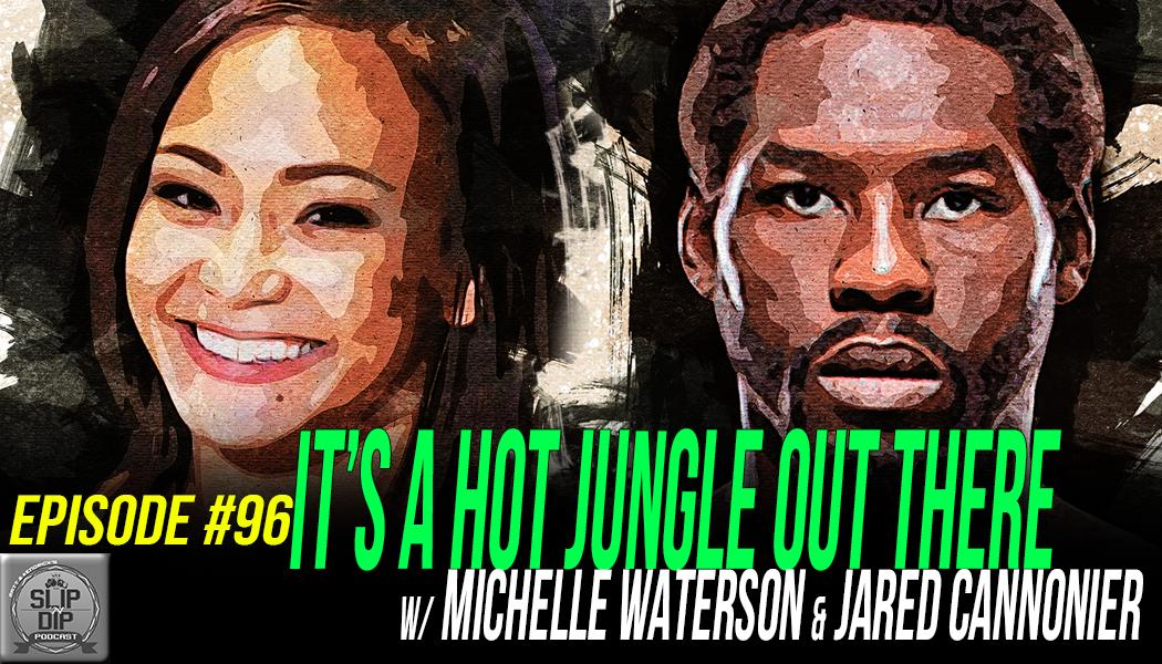 "💥NEW EPISODE💥  #96 - ""It's a hot jungle out there"" w/ Michelle Waterson (@karatehottiemma) & Jared Cannonier (@killagorillamma)  Watch/Listen, Share, Subscribe! 👇 📽️https://youtu.be/v4AIUx_D4Bw  🎧https://www.spreaker.com/user/8158617/ep96 … 🍎https://itunes.apple.com/us/podcast/slip-n-dip-podcast/id1234464939?mt=2 … #UFC237"