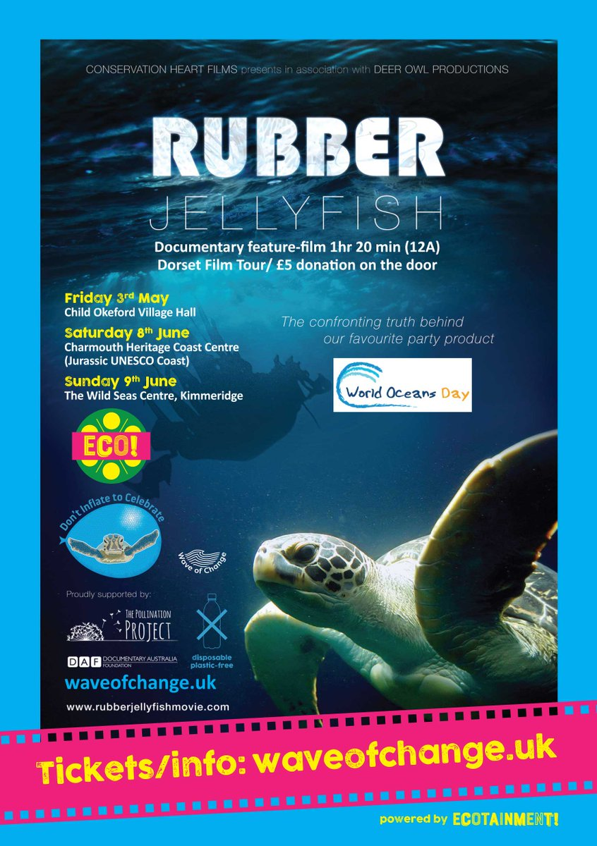 Our Child Okeford (North Dorset) #RubberJellyfish screening is shaping up to be a spectacular family friendly event Fri 3rd May 7-10 pm #Origami #SeaTurtles #Balloons #OrganicCafe #Bar #DorsetHour #EarthDay @CreativeClayFor @dontinfl82celeb @CafeOnGoldhill https://www.eventbrite.com/e/rubber-jellyfish-film-wave-of-change-tour-north-dorset-tickets-60619072277 …