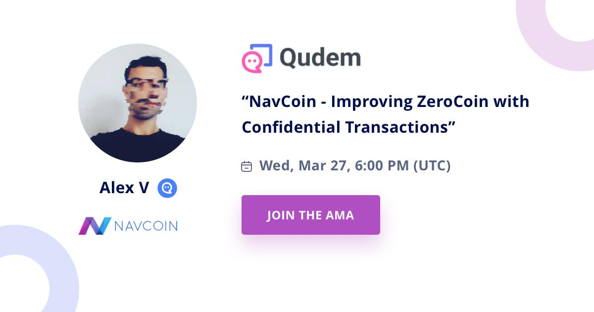NavCoin Core engineer @aguycalledalex hosted an AMA on @Qudem_ answering all your questions on the new NavCoin privacy protocol ZeroCT.  View the discussion here >  https://buff.ly/2CHhjjE