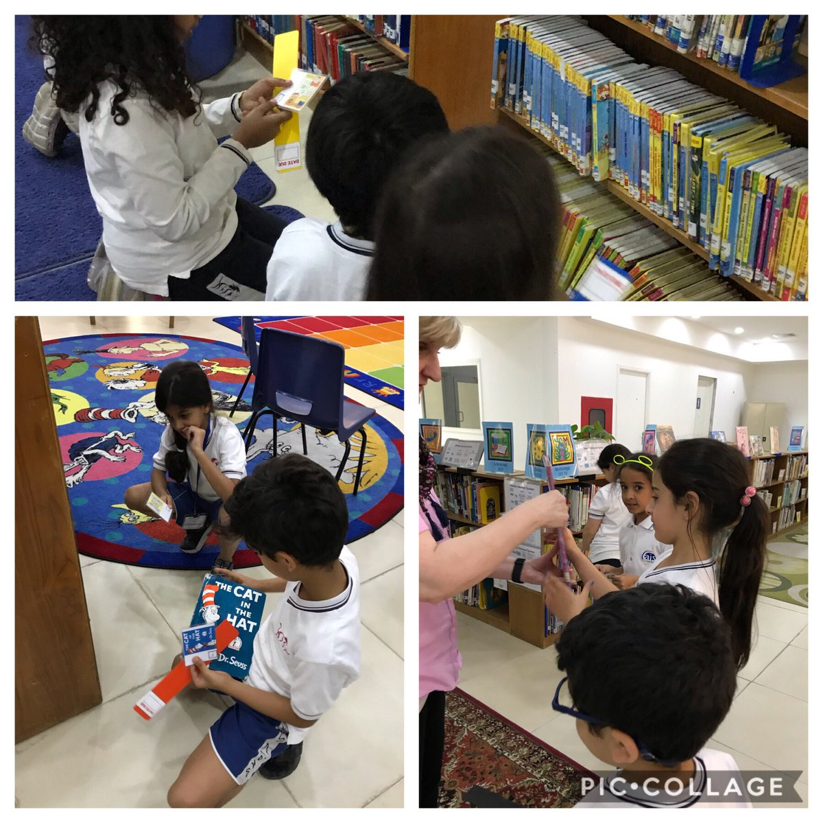 G2 students using their knowledge of call numbers to find hidden books. #aisq8 #callnumbers
