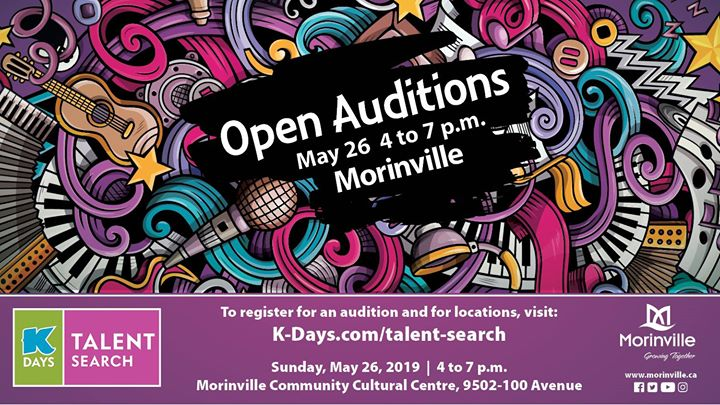 We know there are some talented people within #SturgeonCounty boundaries. Show off your talent at an open audition at the MCC on May 26. The finalists in each category of the open auditions will have a spot in the K-Days Talent Search semi-finals! https://bit.ly/2Fnm8Ag