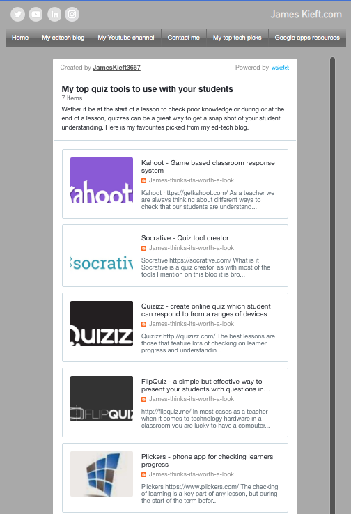 Here is my pick of quiz tools from my #edtech blog, curated using @wakelet, wether checking students prior knowledge or checking what they've understood from a lesson, #Quiztools are a great way to do this #checkinglearning #DigitalSkills #ukfechat https://www.jameskieft.com/quiz-tools