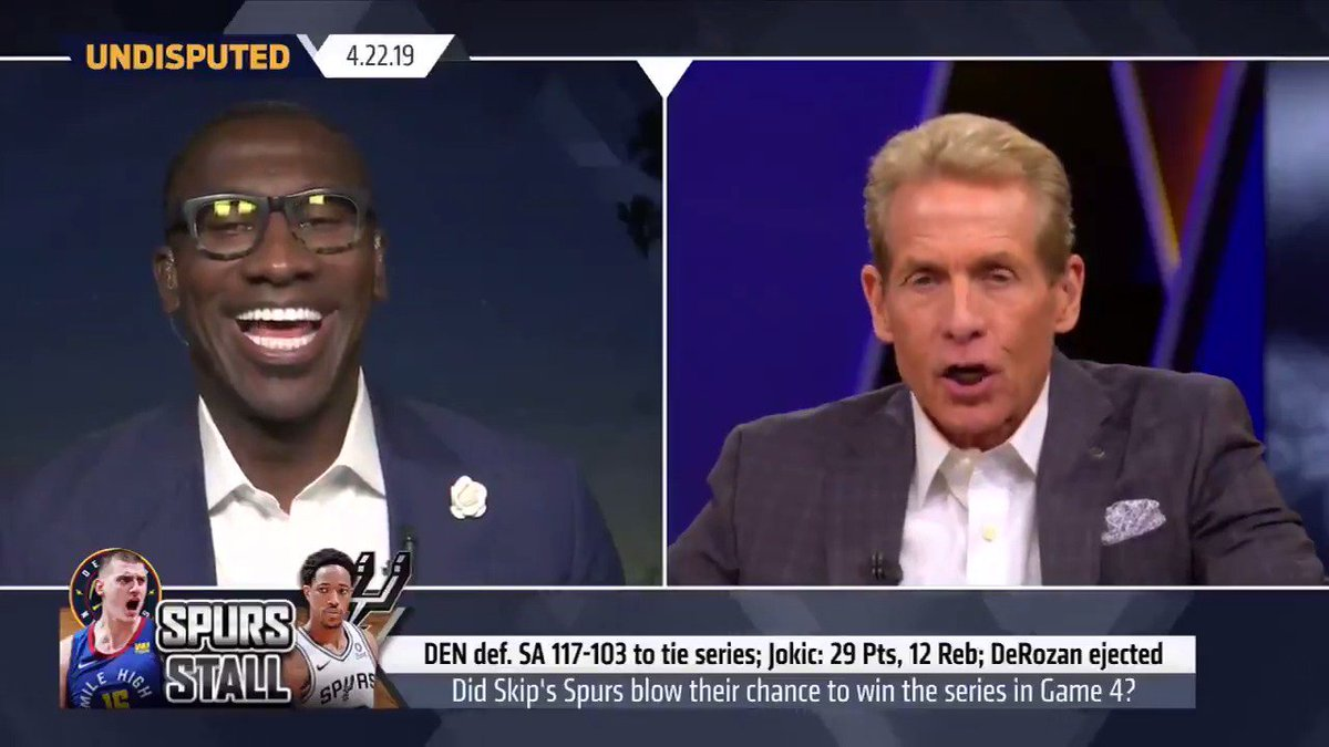 """""""That was about as sorry a last 3 quarters of a playoff game I've ever watched my Spurs play. My Spurs ... decided they were the Duncan-Ginobili-Parker Spurs, and they could put it in cruise control and just cruise into the 2nd round."""" — @RealSkipBayless"""