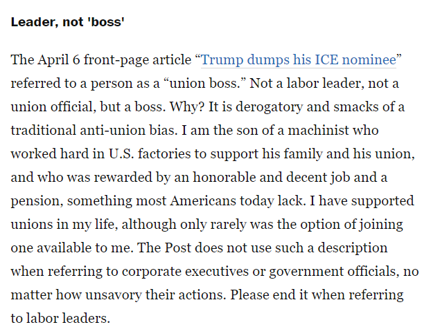Can we please retire the phrase &quot;union boss&quot; once and for all?   Thanks to Jeff Johnson from Washington who wrote this recent @washingtonpost letter-to-the-editor. #1u <br>http://pic.twitter.com/1QBW2MgESU
