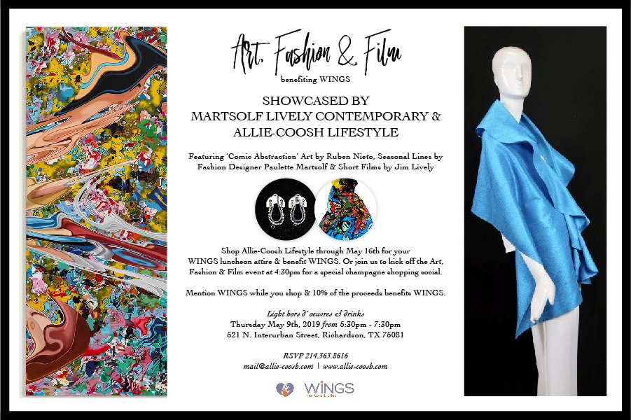test Twitter Media - Join us on May 9th for the Art, Fashion & Film benefiting WINGS held at @alliecoosh Lifestyle. Shop for your ideal Mentors & Allies Awards Luncheon attire, or any wardrobe need. RSVP to mail@allie-coosh.com https://t.co/QVMaNxc5nk