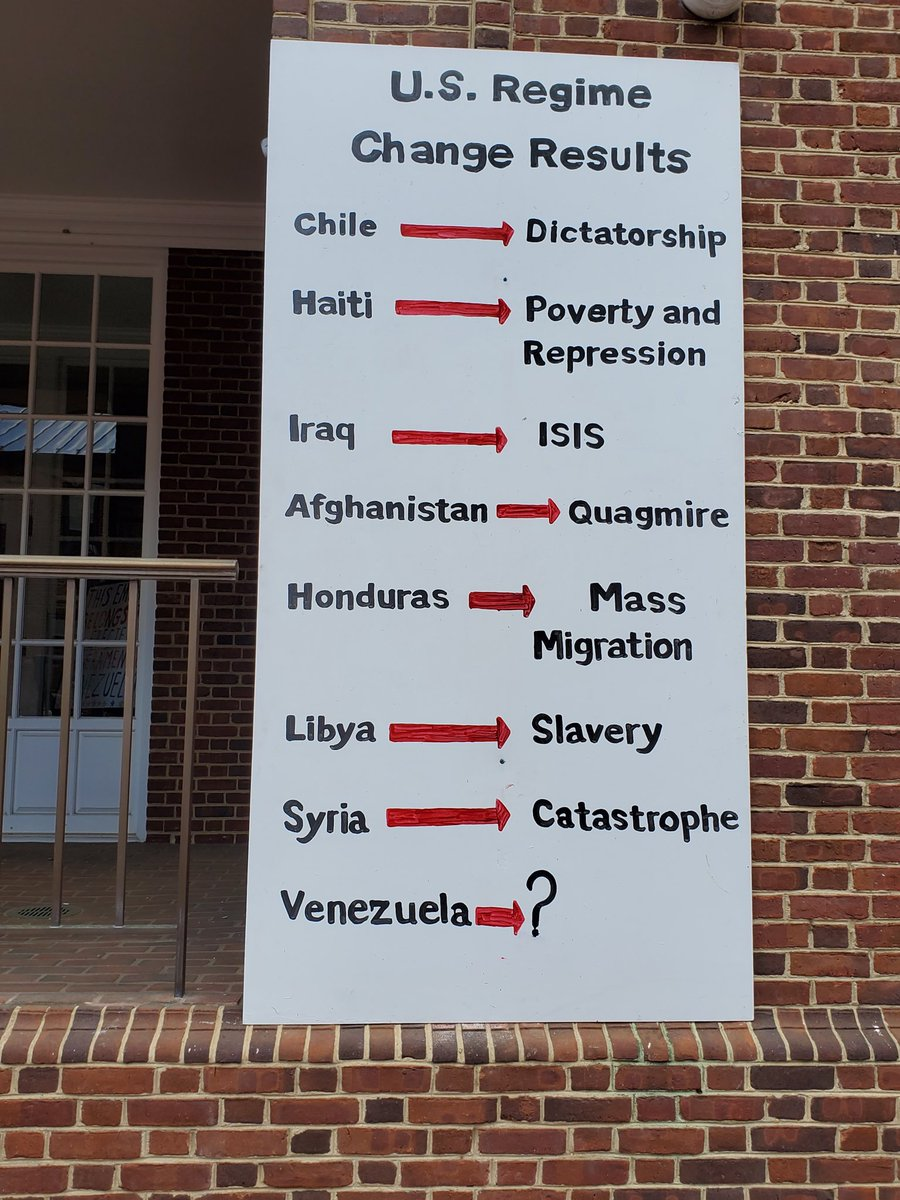 A brief history of the results of US intervention on the wall of the DC Venezuela Embassy #HandsOffVenezuela<br>http://pic.twitter.com/ec62SJEIDn