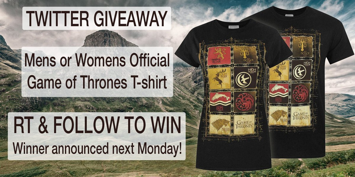 We&#39;ve got a #GameOfThrones  Official Mens OR Womens T-Shirt to #giveaway! #Follow &amp; RT to #win! Ends 29/04 #competition #prize #compers #contest #prizes #comping #prizedraw #MondayMotivation #GameofThronesSeason8 #GOT <br>http://pic.twitter.com/JxOLcEik3k