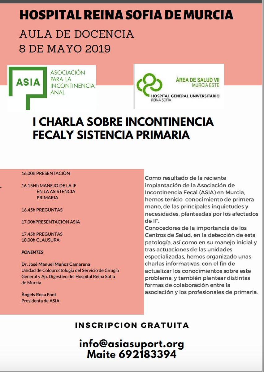@Area2Cartagena @Area6VegaMedia @AreaUnoArrixaca @Area9VegaAlta @Area4Noroeste   La Importancia de la Incon Fecal en asistencia primaria, ponencia con el Dr.  Jose M Muñoz @Area7ReinaSofia junto a @angelsrocatous presidenta de la asso. Patología ciega, sorda  muda ¡¡¡OS ESPERAMOS