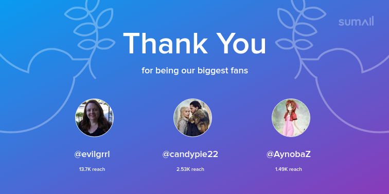Our biggest fans this week: @evilgrrl, @candypie22, @AynobaZ. Thank you! via https://sumall.com/thankyou?utm_source=twitter&utm_medium=publishing&utm_campaign=thank_you_tweet&utm_content=text_and_media&utm_term=dc66bd5f44622c464293afb0 …