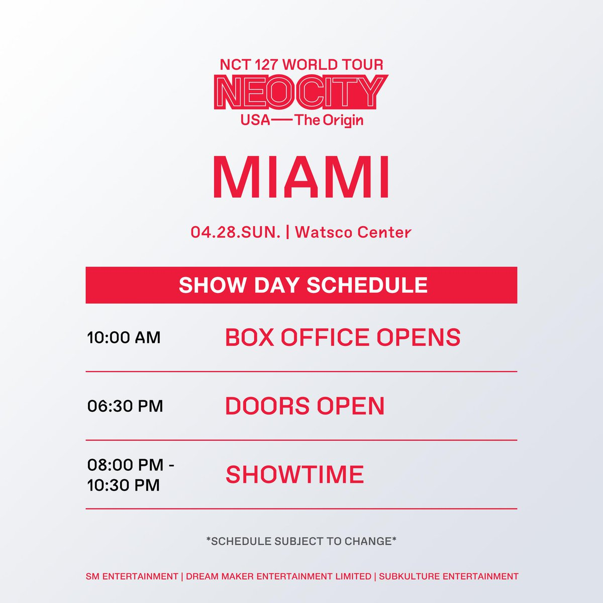What's up, Miami! Hands up if you're excited to see NCT 127  Peep our #NEOCITYinMIA show day schedule  #NCT127inMIA #NEOCITYinUSA #NCT127inUSA #NCT127  For :  https://www. ticketmaster.com/event/0D005673 8BAF8977 &nbsp; … <br>http://pic.twitter.com/UTo9wBF6YK