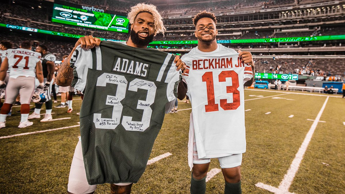 New jerseys, same #NFLSU.  21 Mondays from today @TheAdamsEra and @obj meet again. <br>http://pic.twitter.com/hxwczKWoj2