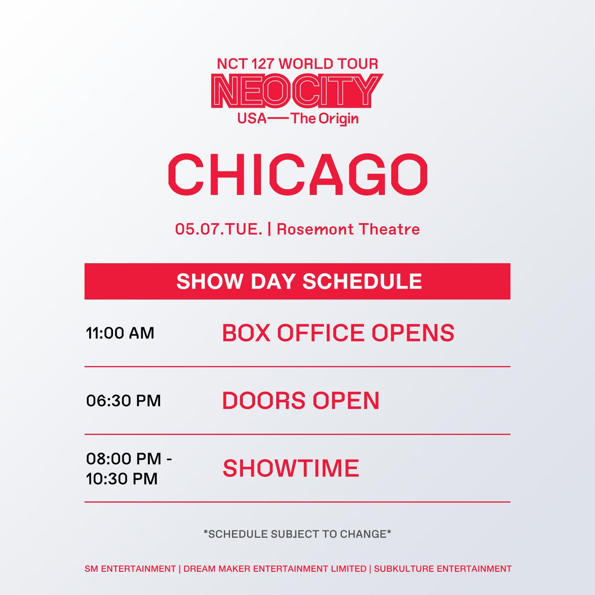 Chi-town NCTzens  Who's excited for Johnny's return to his hometown?  Peep our #NEOCITYinCHI show day schedule and get ready to welcome the boys  #NCT127inCHI #NEOCITYinUSA #NCT127inUSA #NCT127<br>http://pic.twitter.com/RYcFzzDYkL