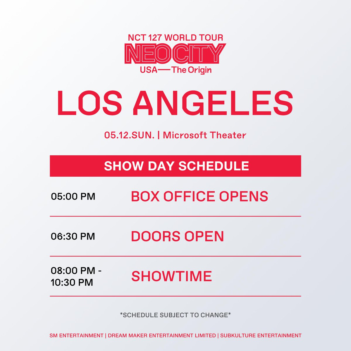 City of Angels  Your show day schedule is finally here for #NEOCITYinLA!  #NCT127inLA #NEOCITYinUSA #NCT127inUSA #NCT127  For :  https://www. axs.com/events/371937/ nct-127-tickets &nbsp; … <br>http://pic.twitter.com/JUy9LzSSIW