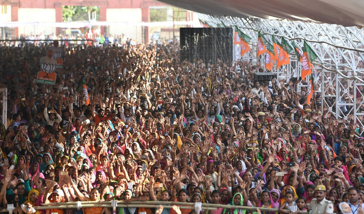 This is how Udaipur came to support us!   At today's huge rally, spoke about the steps taken by the NDA Government for the poor, marginalised and downtrodden.   Also exposed Congress' double speak on strategic affairs and their neglect of the welfare of tribal communities. <br>http://pic.twitter.com/VlYTzne3H6