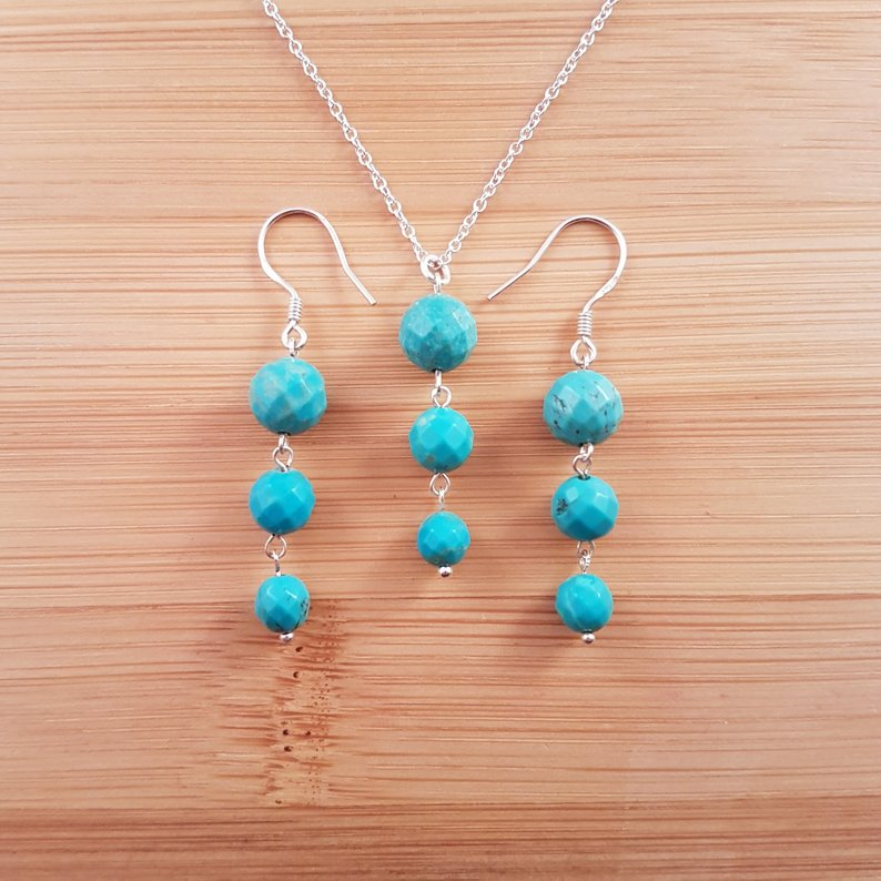 Turquoise trio pendant and earrings set