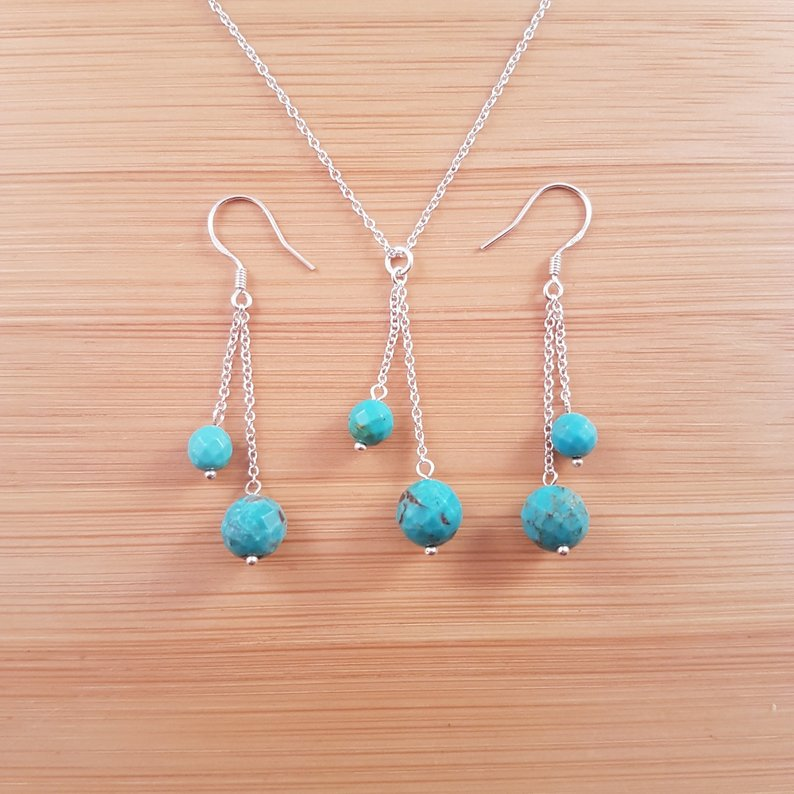Turquoise duo pendant and earrings set