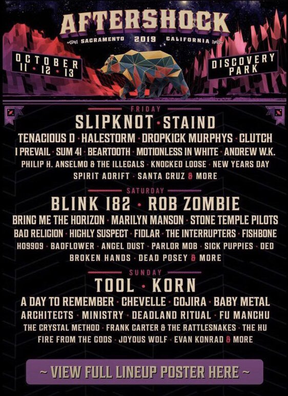 BABYMETAL appears on the Aftershock festival lineup for October 13th. It's in Sacramento, California.  It went up on the website for a moment and then disappeared.  https://aftershockfestival.com/  #BABYMETAL