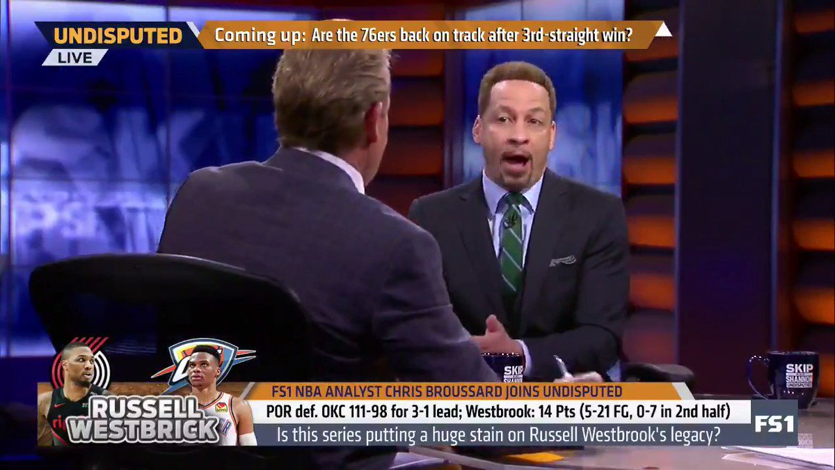 """""""Westbrook is going to have a legacy similar to Allen Iverson. He's going to be an icon. Westbrook is also the only player ever to lead the NBA in scoring and assists two times. ... You will never win a title with Westbrook as your leading player."""" — @Chris_Broussard"""