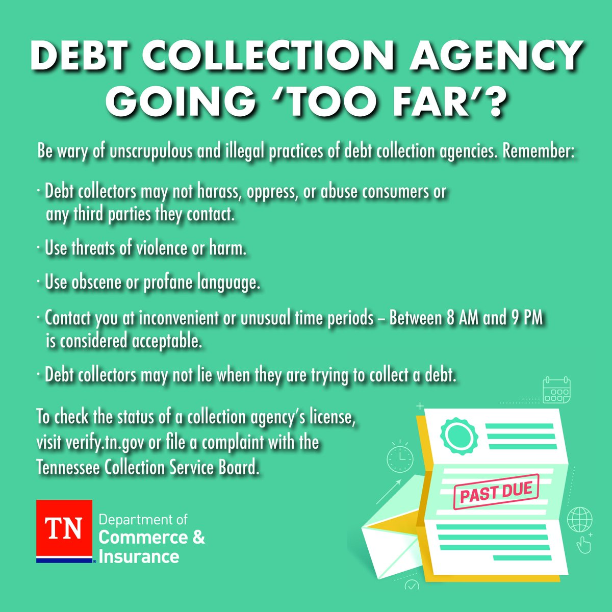 test Twitter Media - Complaints about debt collectors are Tennesseans' top complaint area according to @FTC. Our Division of Consumer Affairs and the state Collections Board reminds Tennesseans to be wary of unscrupulous & illegal practices. #consumerprotection https://t.co/0xnYIuWIcY https://t.co/1aWH0drkhN