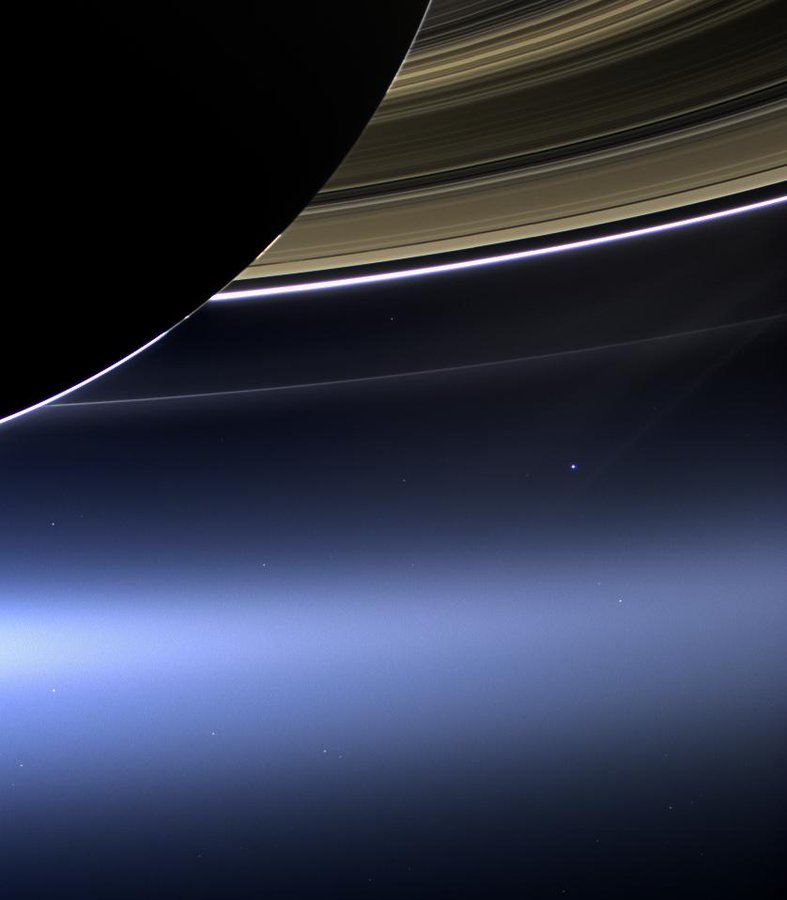 On July 19, 2013, while exploring Saturn, NASA's Cassini spacecraft took this image of Earth from a distance of about 1.45 billion kilometers (898 million miles) away.