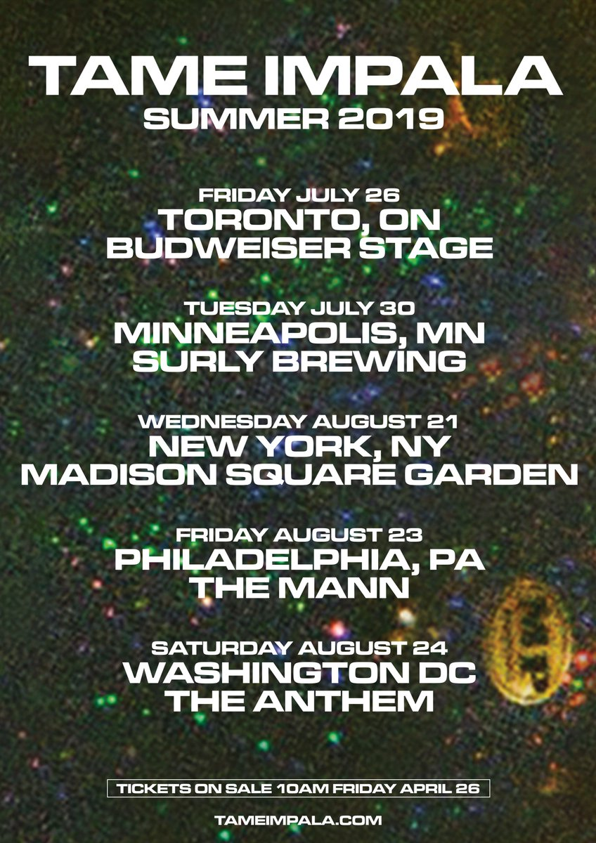 Tickets on sale Friday April 26 at 10am Toronto / July 26 / bit.ly/2UIcqlu Minneapolis / July 30 / bit.ly/2GpO7hU New York / August 21 / bit.ly/2VV6tht Philadelphia / August 23 / bit.ly/2Vhk0Db Washington August 24 / bit.ly/2PkL1Ac