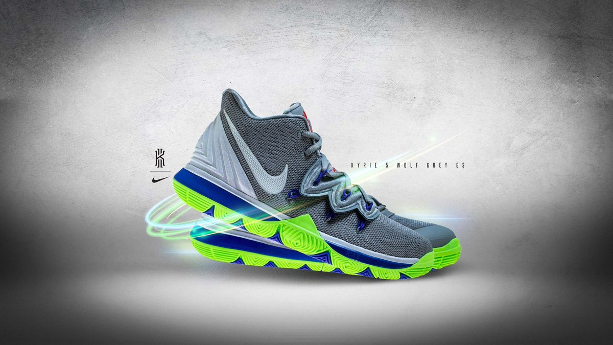 bd54612b3568 this nike kyrie 5 features a white upper paired with purple and neon green  accents as