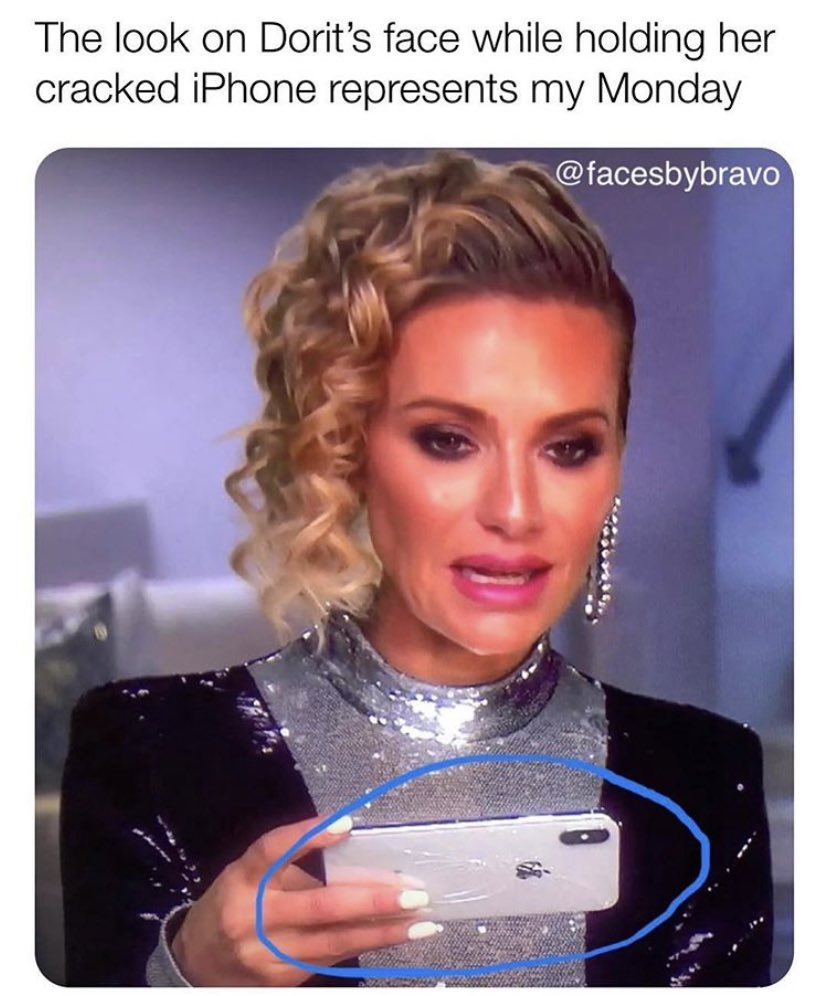 Of course her broke ass has a cracked iPhone. Happy Monday, bitches! #RHOBH #MondayMood <br>http://pic.twitter.com/q6FRUdJ0K5