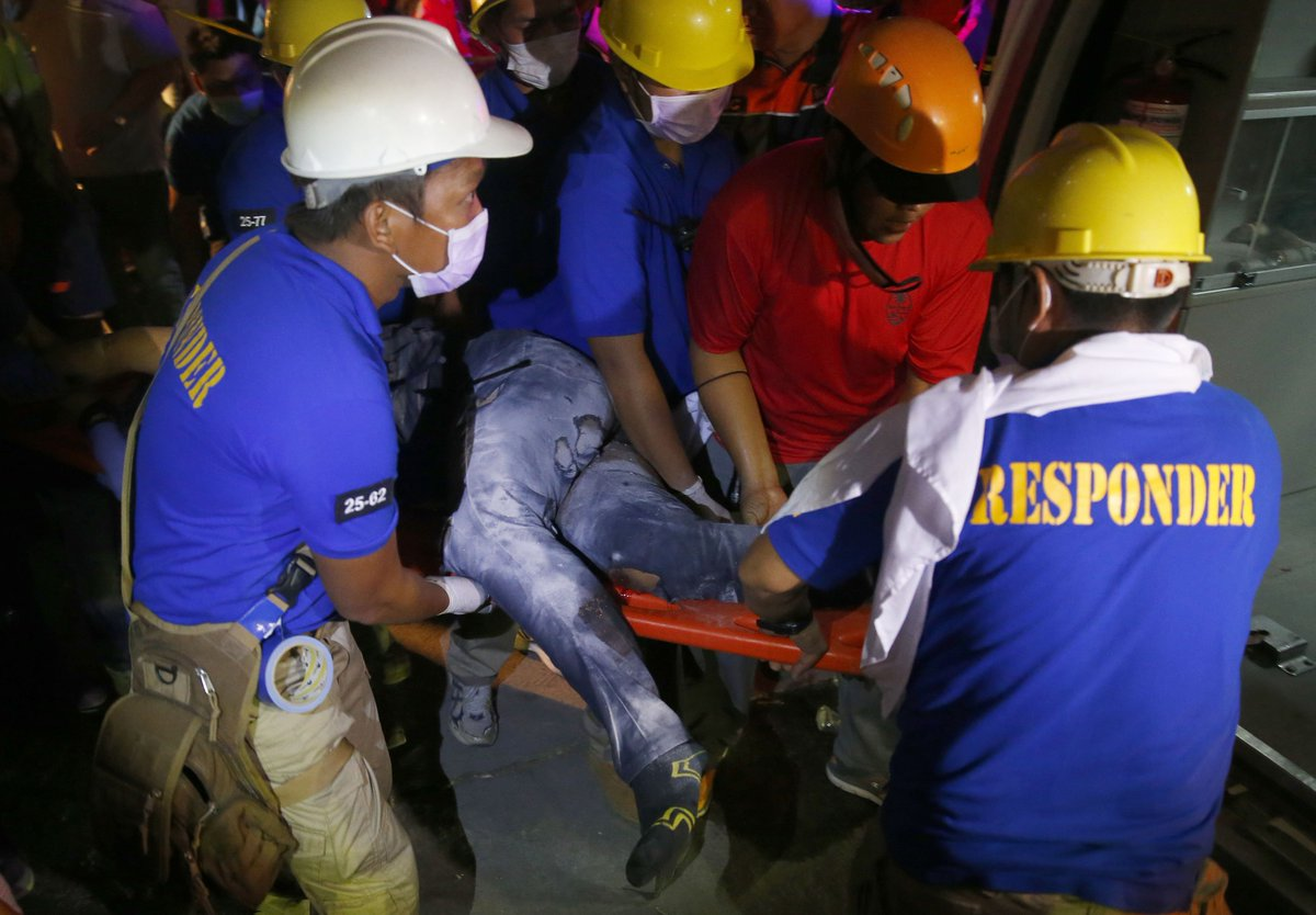 A magnitude 6.1 earthquake in the Philippines killed at least 8 people and injured 20.   Rescuers are working to save dozens of people believed to be trapped in a collapsed building in Pampanga.