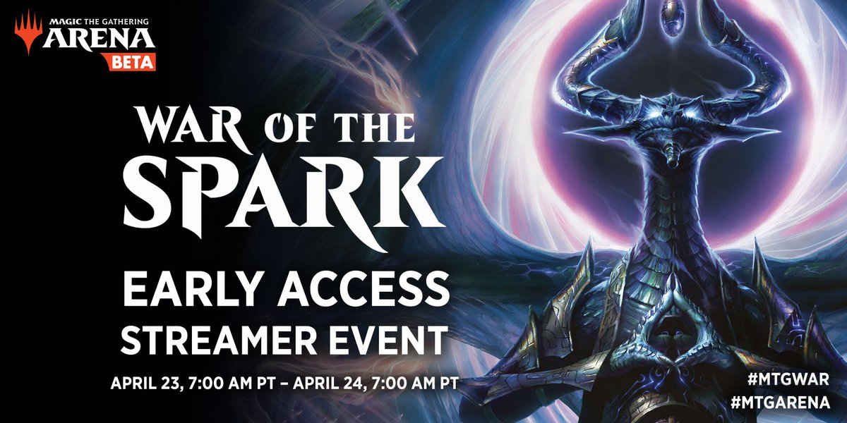 The #MTGWAR Early Access Streamer Event starts tomorrow! Stop by to say hello to your favorite MTG Arena streamer, and check out the brand new set. <br>http://pic.twitter.com/7O3ejvWnEn