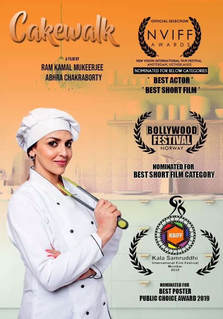 Congratulations Entire team of #Cakewalk has been nominated at the prestigious #NewVisionInternationalFilmFestival at #Amsterdam for #BestShortFilm I #EshaDeolTakhtani am nominated for #BestActor. It has also been selected at #BollywoodFilmFestival in #Norway for #BestShortFilm