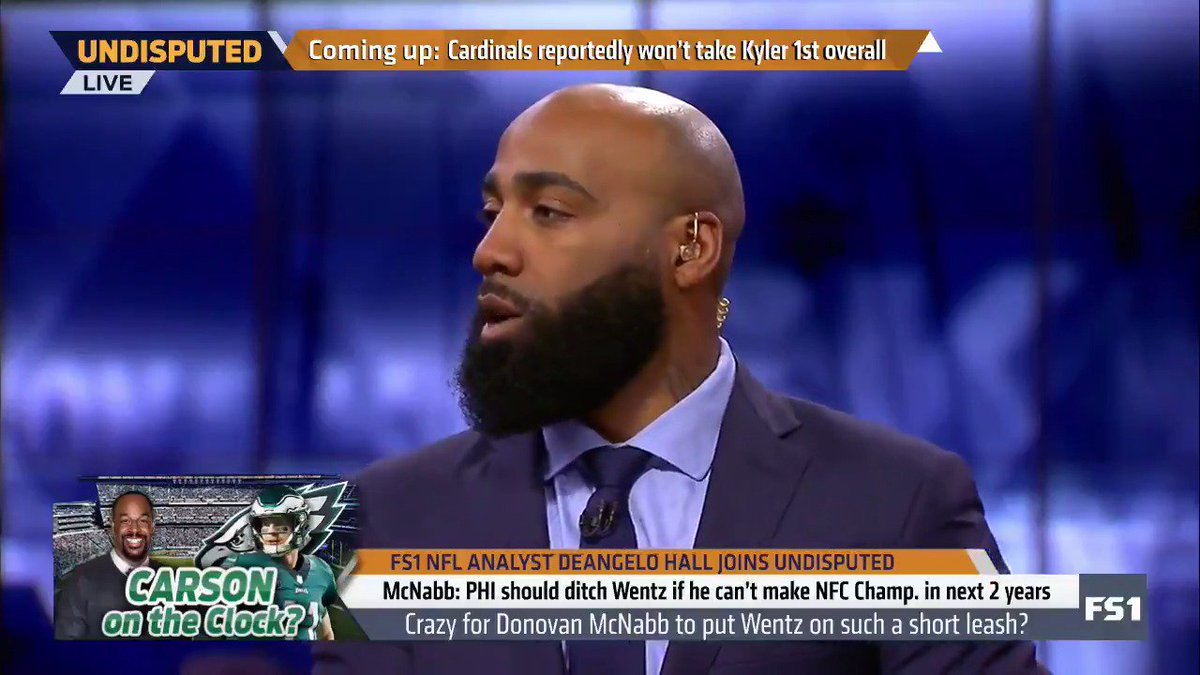 """""""I've played with Donovan McNabb, I played against him. ... This to me seems a little bit like jealously. I'm rocking with Carson Wentz."""" — @DeAngeloHall23"""
