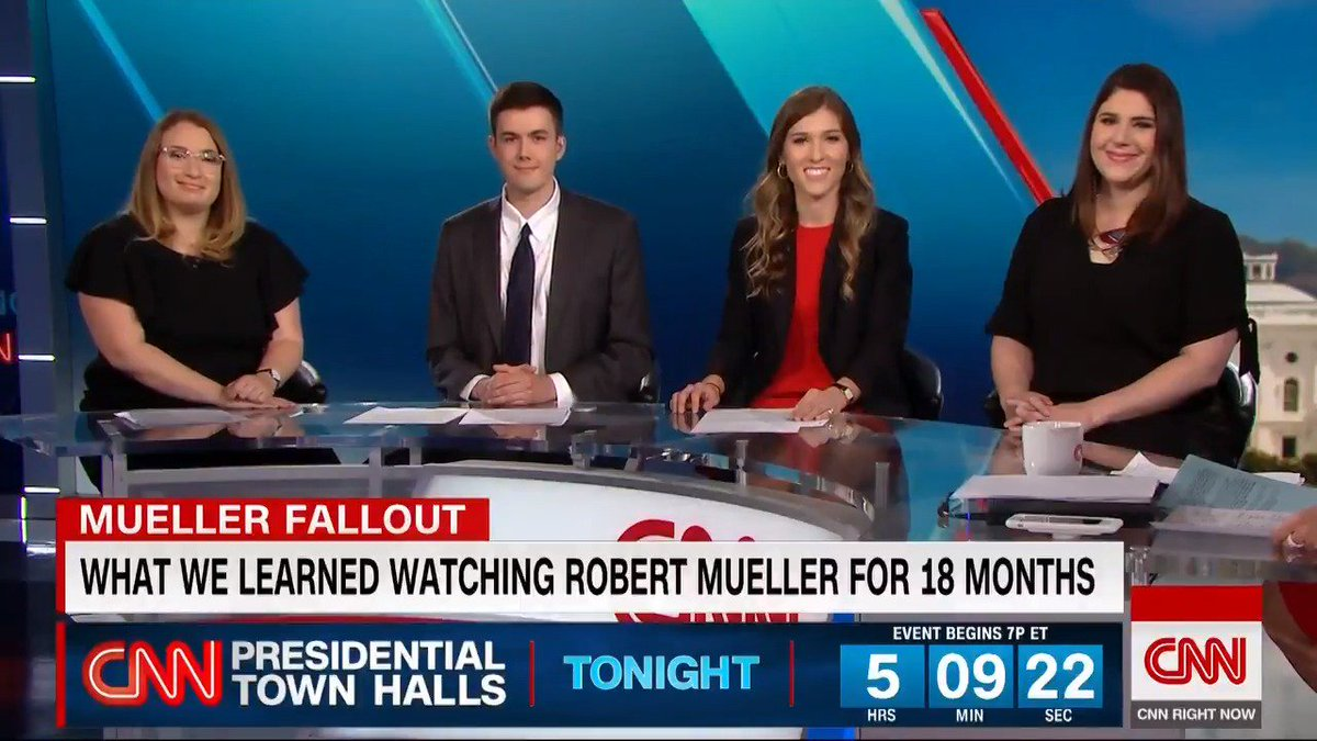 Here's our amazing #CNNstakeout team making their TV debut! @FossumSamuel @emsteck @caroline_mkelly, plus @kpolantz, discussing the daily stakeout that transformed our Mueller coverage. (Not pictured: @stark_talk who is in NH for CNN's town halls.)