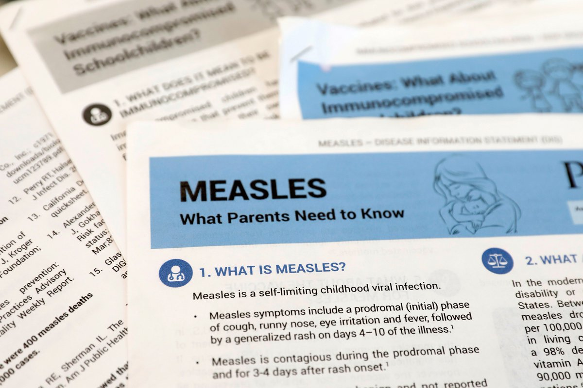 There are 626 confirmed cases of measles so far in 2019.  - That's the second highest year total since it was eradicated in the U.S. - 71 new cases were recorded in the last week - There are 6 ongoing outbreaks in: NY, NJ, WA, CA + MI