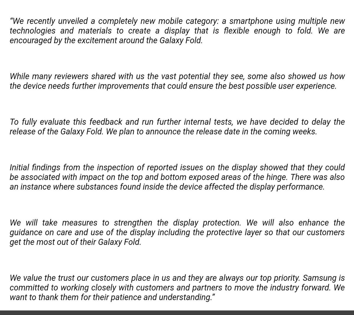 ce7c29a0332 1 5  Samsung is looking into the  GalaxyFold screen issues reported by some  reviewers which is resulting in a release delay.pic.twitter.com NmIfzHgv5f