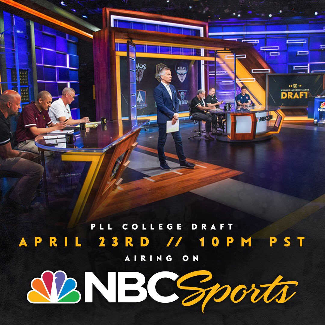 Watch the @PremierLacrosse League College Draft, April 23rd on @NBCSports at 10 PM PST.