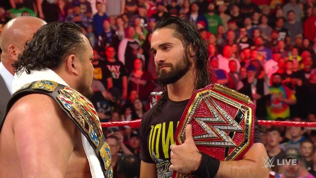 #Samoa2Belts? #USChampion @SamoaJoe is officially on #RAW and he WANTS @WWERollins #UniversalTitle! #SuperstarShakeUp