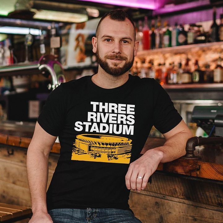 Three Rivers Stadium was a multi-purpose stadium built in 1970 and was the home of the Pittsburgh Pirates and Steelers.   Available at http://bygonebrand.com/three-rivers-stadium-tee …