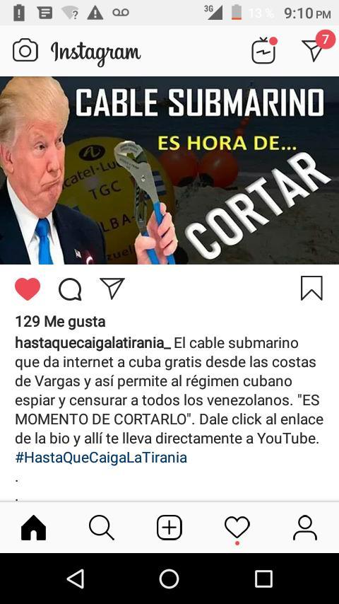 Es hora de cortarle el interne a cuba  ya que en Venezuela ni si quiera éso tenemos los cubanos si chulos se viven de Venezuela ya basta esos países lo que Han hecho es robar el cortan y el urunanio y el oro no podemos seguir permitiendo esto más insostenible  lo que vivimos